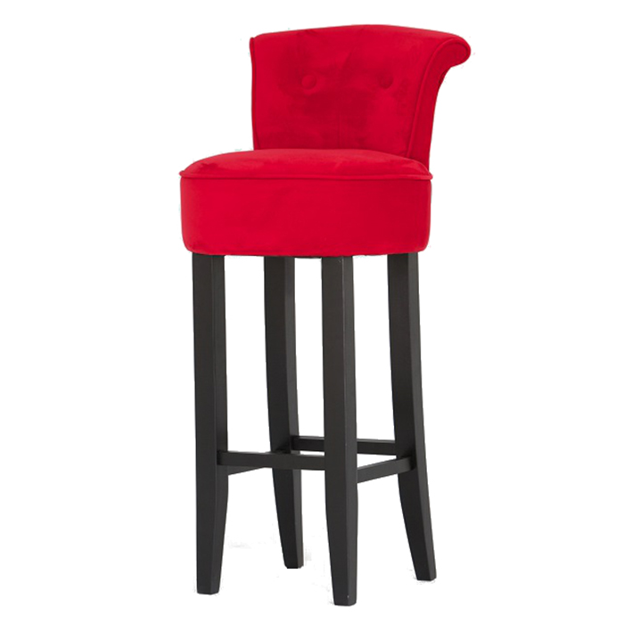 Red Velvet Upholstered Bar Stool