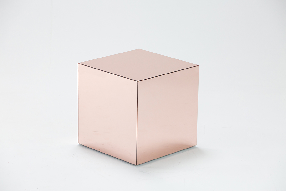 Rose Gold Mirror Cube Table