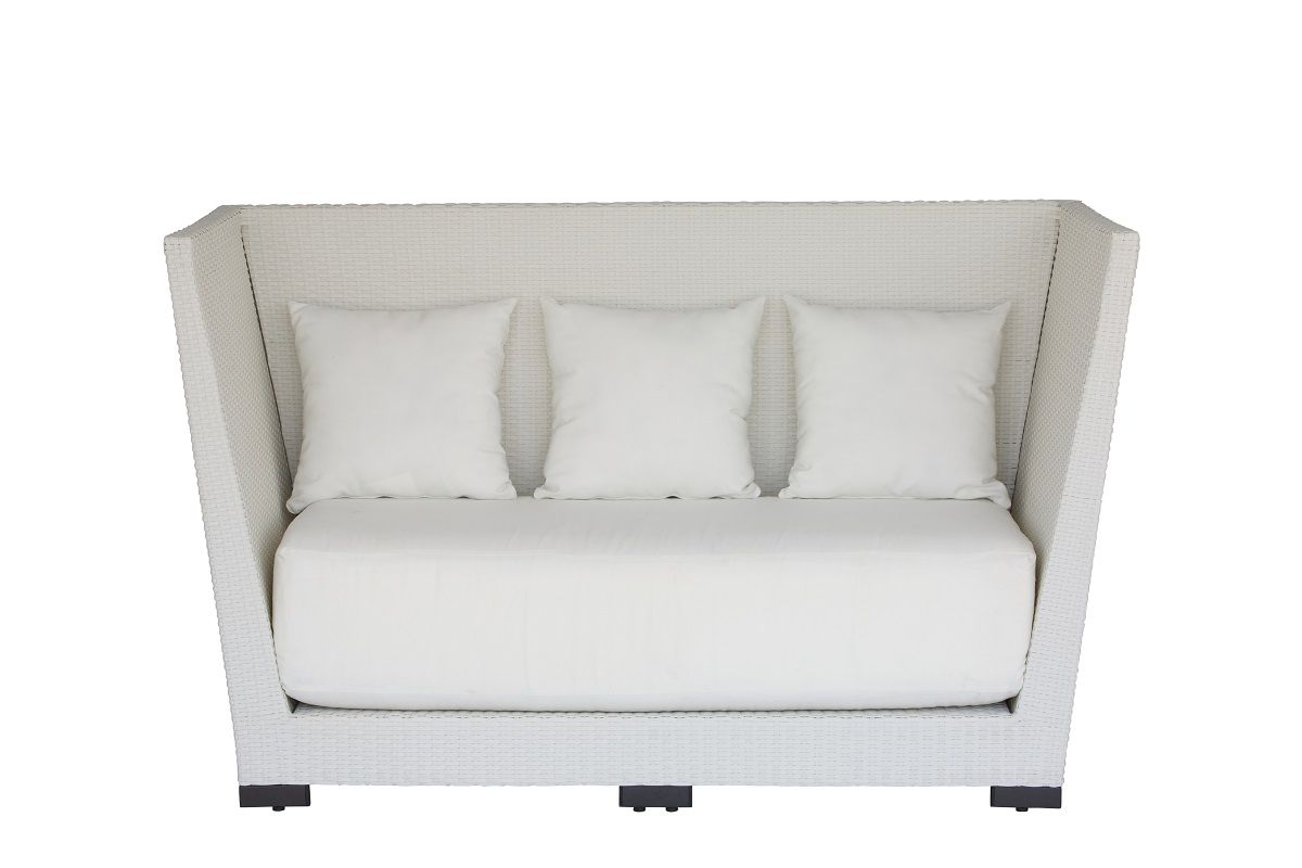 White High Back Rattan Sofa
