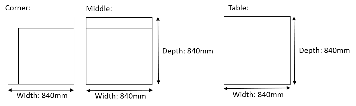 White L Shaped Rattan Diagram
