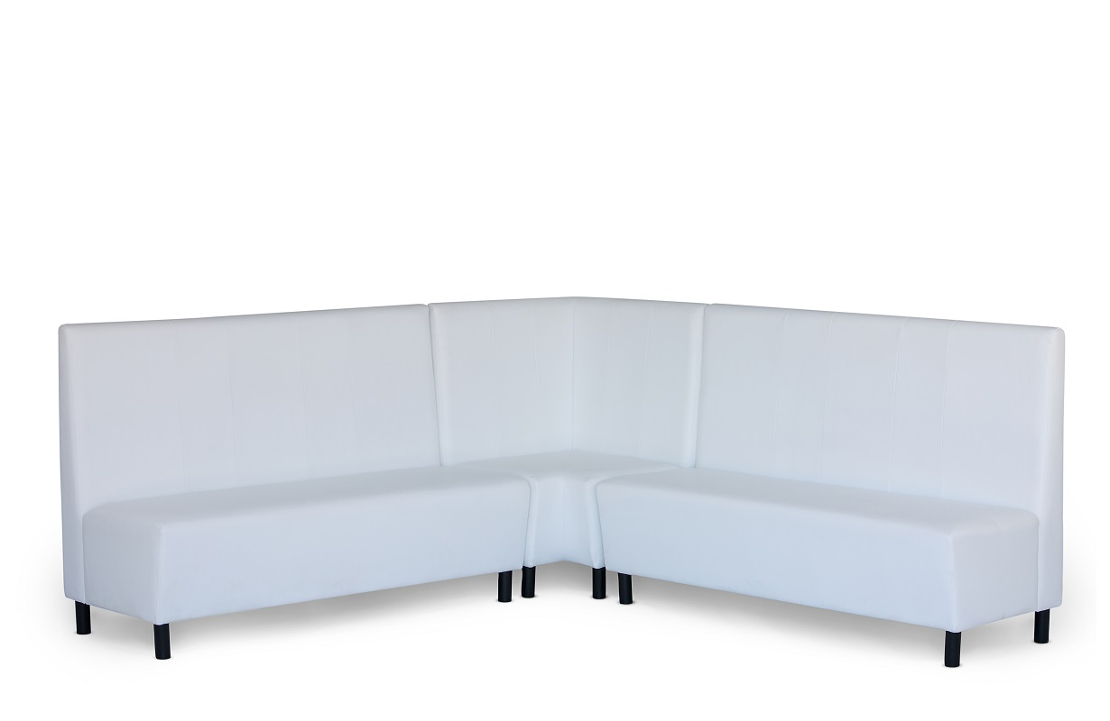 White Leather Banquette Seating