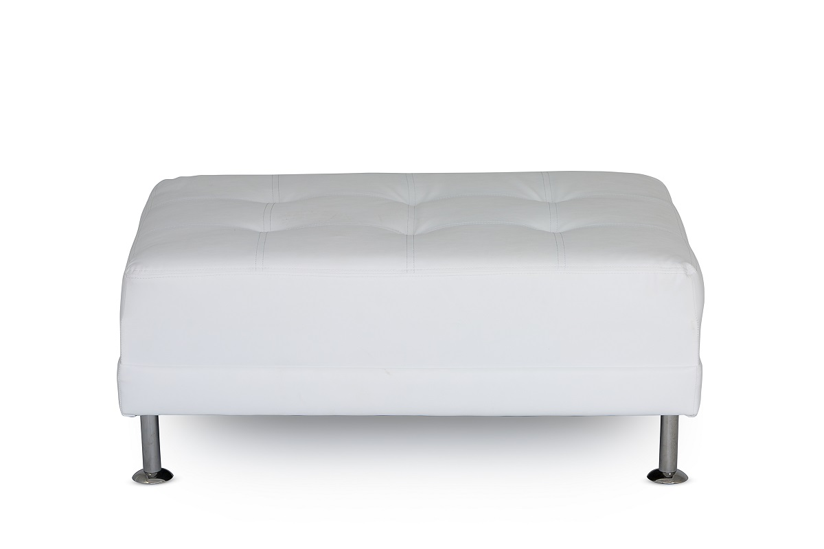 White Leather Chrome Leg Footstool
