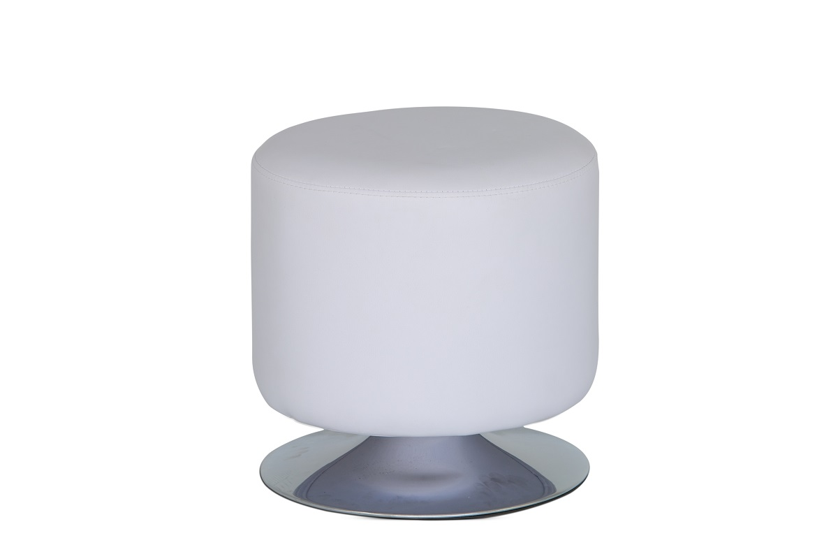White Leather Drum Stool