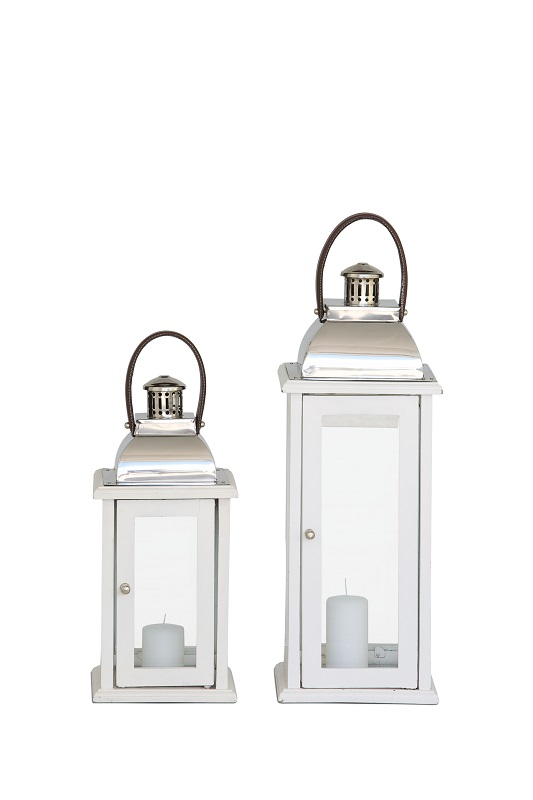 White Wood Lantern Pair