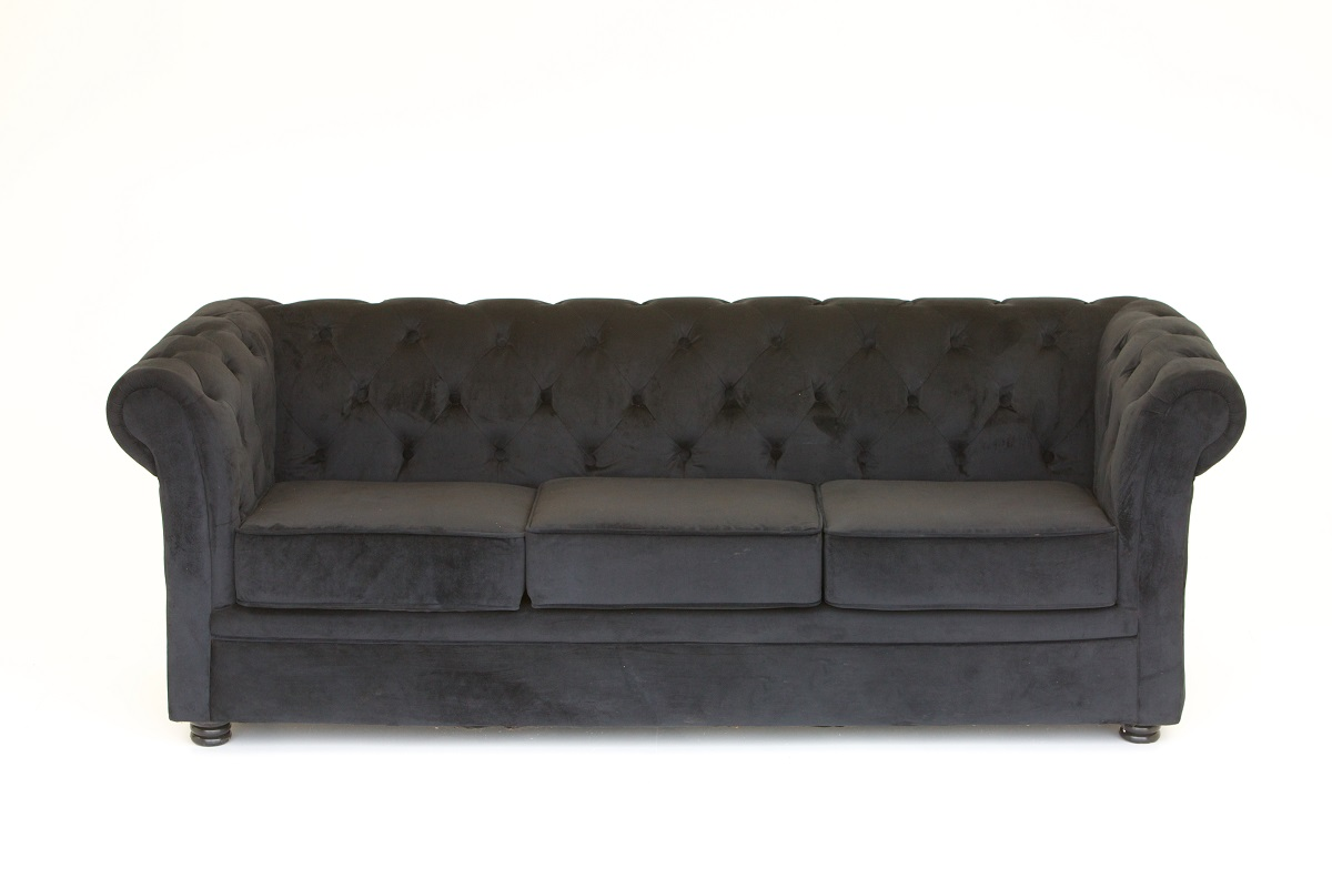 Black Chesterfield Sofa 3 Cushion