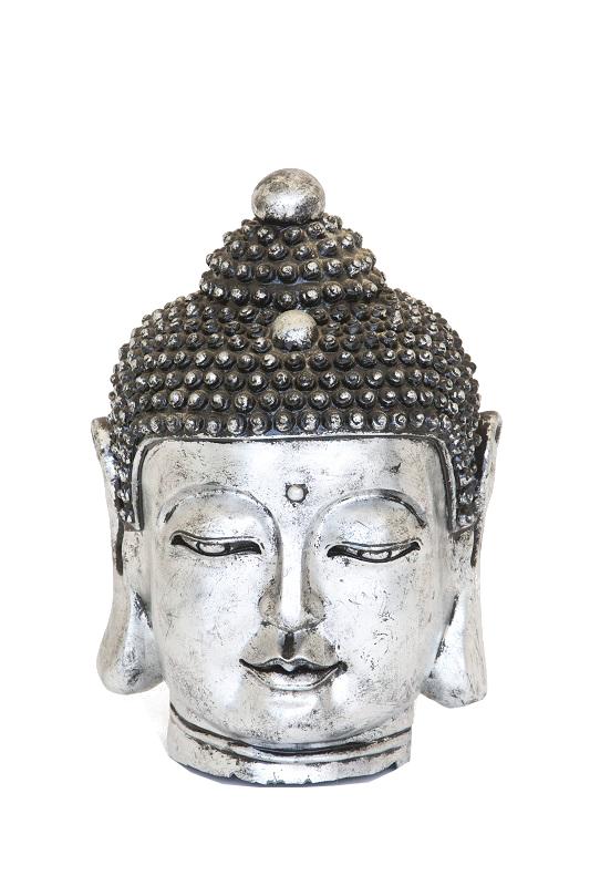 Large Silver Buddha Head