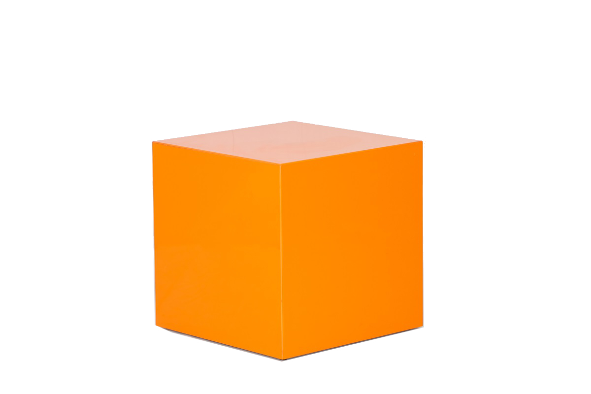 Orange Perspex Cube Table