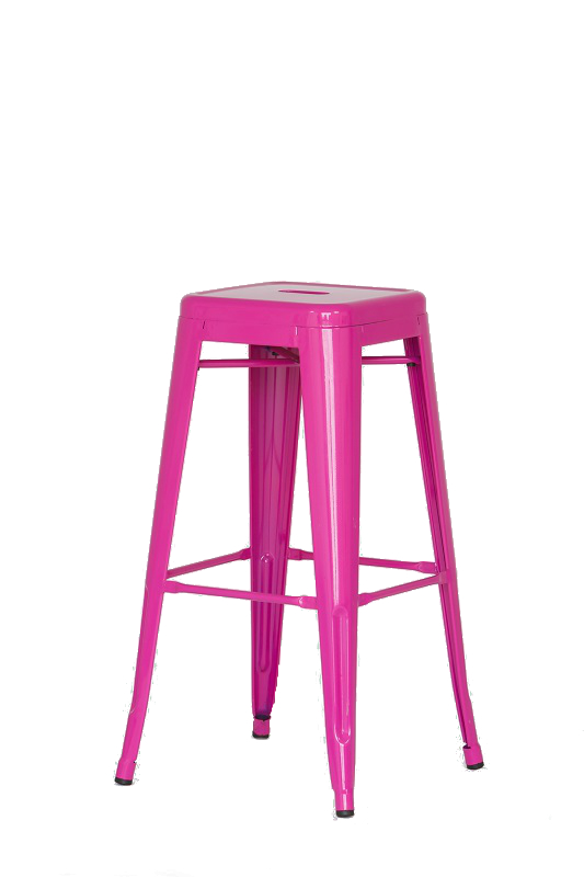 Pink Metal Bar Stool