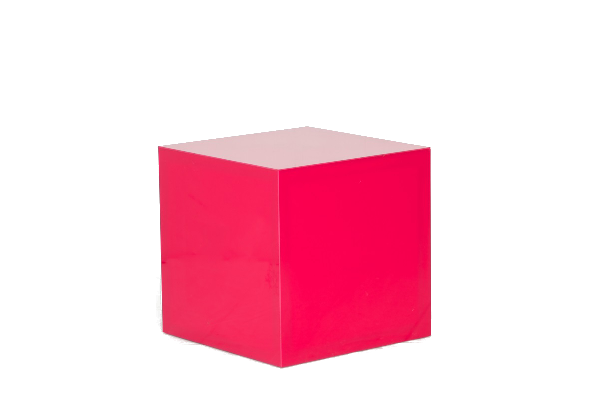 Pink Perspec Cube Table