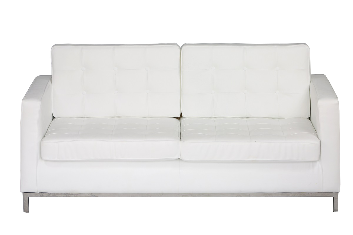 White leather Chrome Leg Sofa