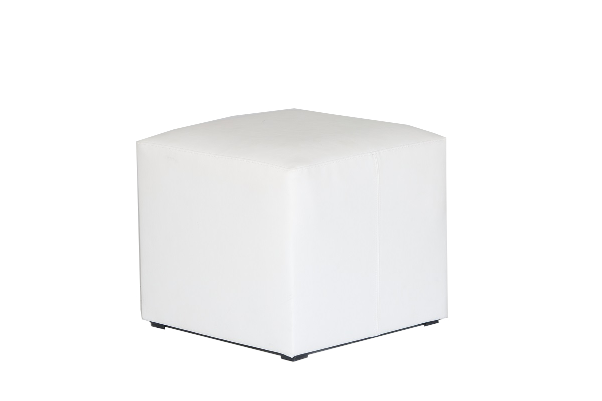 White Leather Cube Stool
