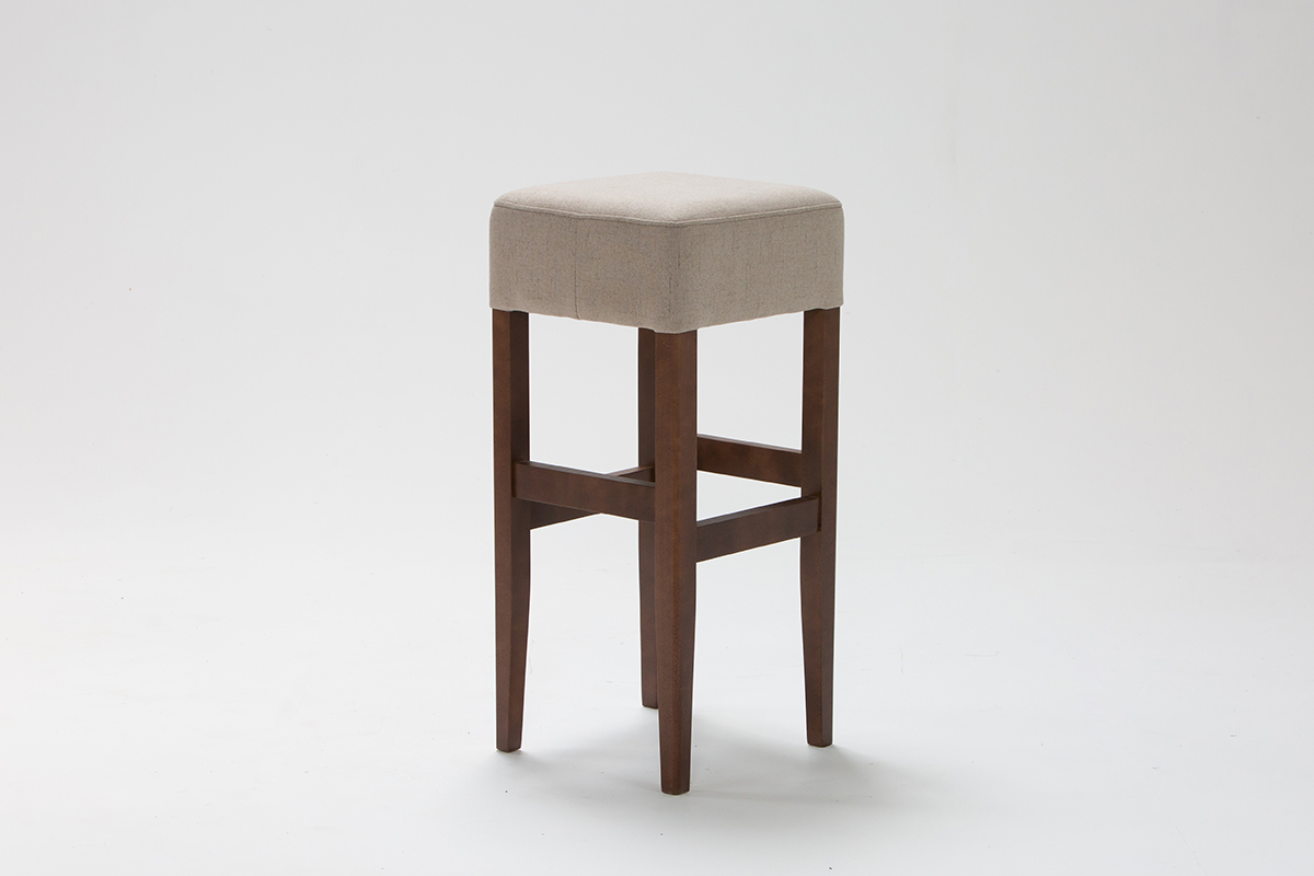 Beige Upholstered Bar Stool