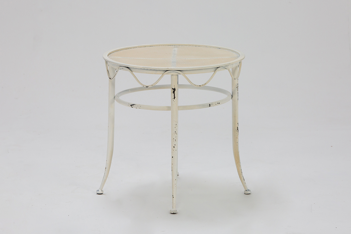 Distressed Cream Iron Low Table