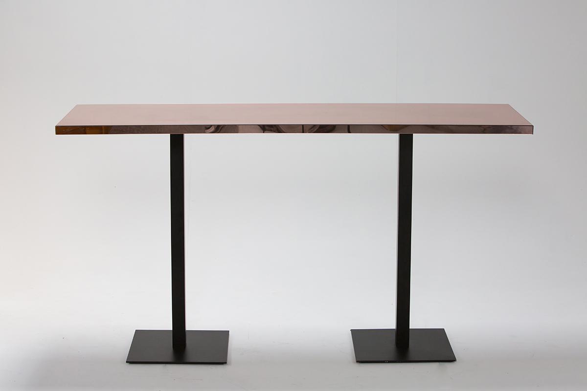 Gold Mirror Bar Table 2m on Black Base