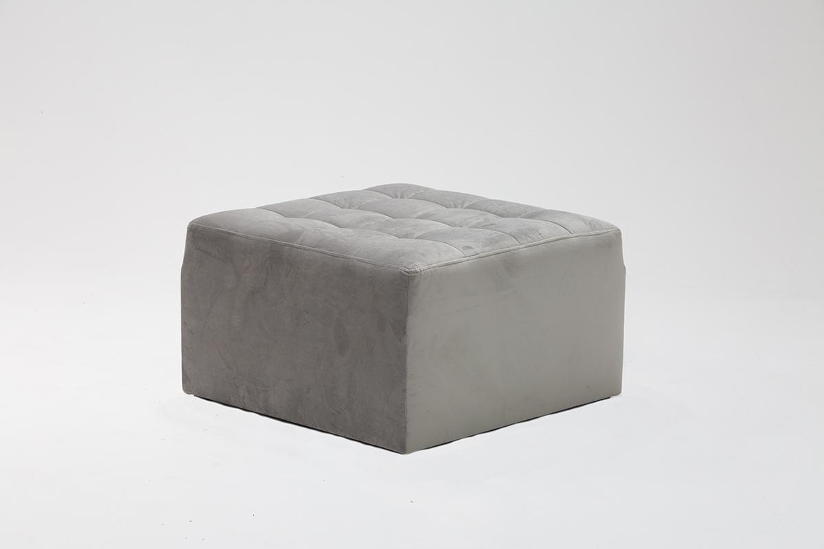 Grey Velvet Pouffe