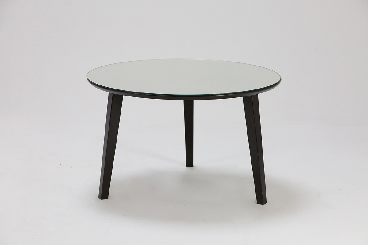 Silver Mirror Round Low Table