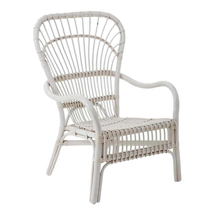 White Rattan Relaxer Chair