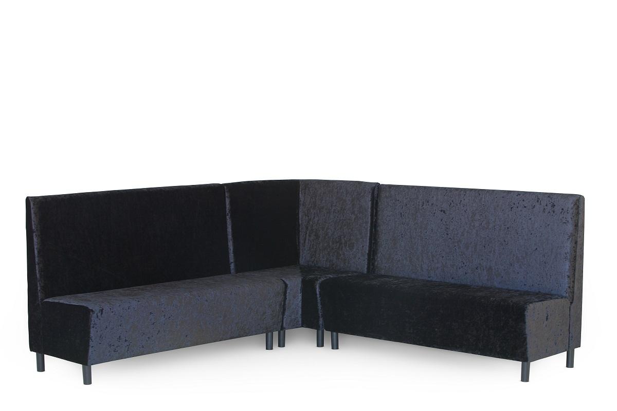 Black Crushed Velvet Banquette Seating