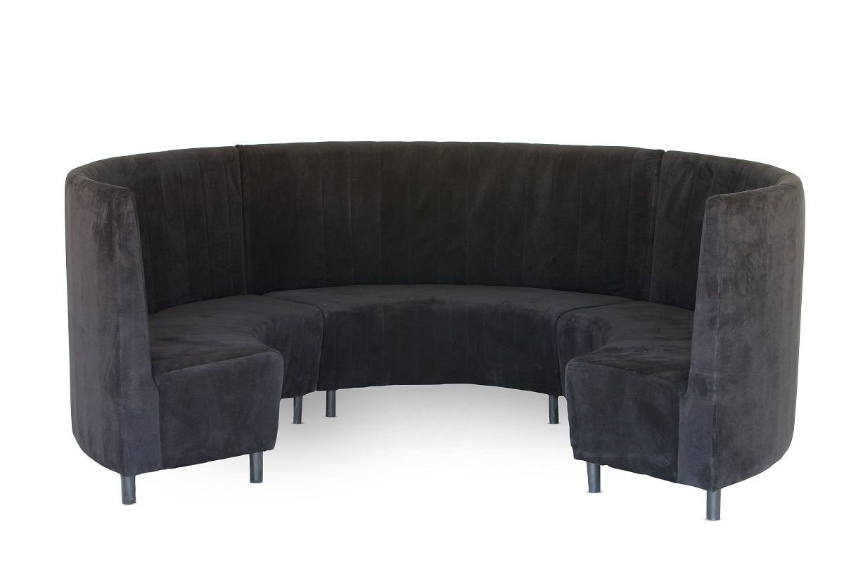 Black Velvet Circular Banquette Seating