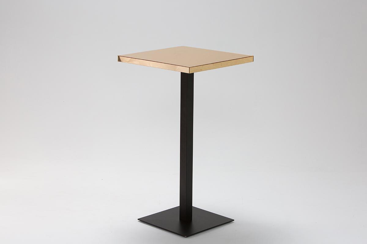 Gold Mirror Bar Table on Black Base