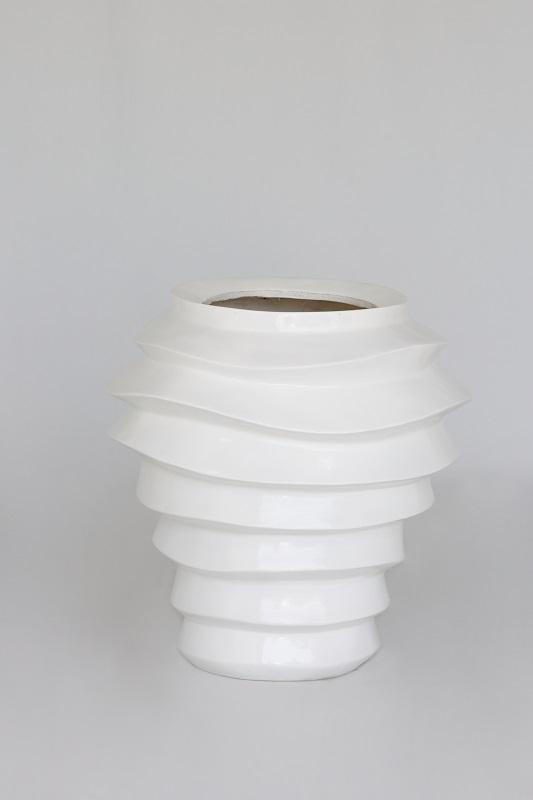 White Gloss Ridge Vase