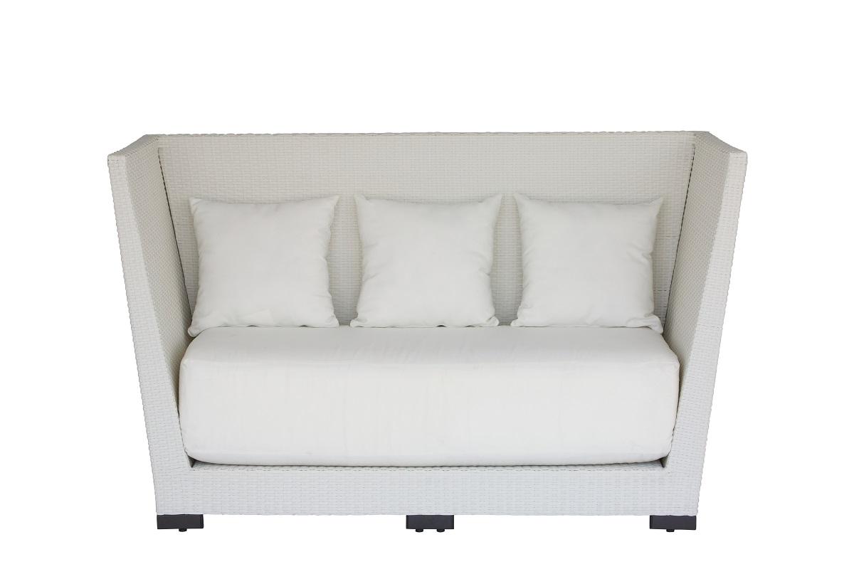 White High Back Rattan Sofa