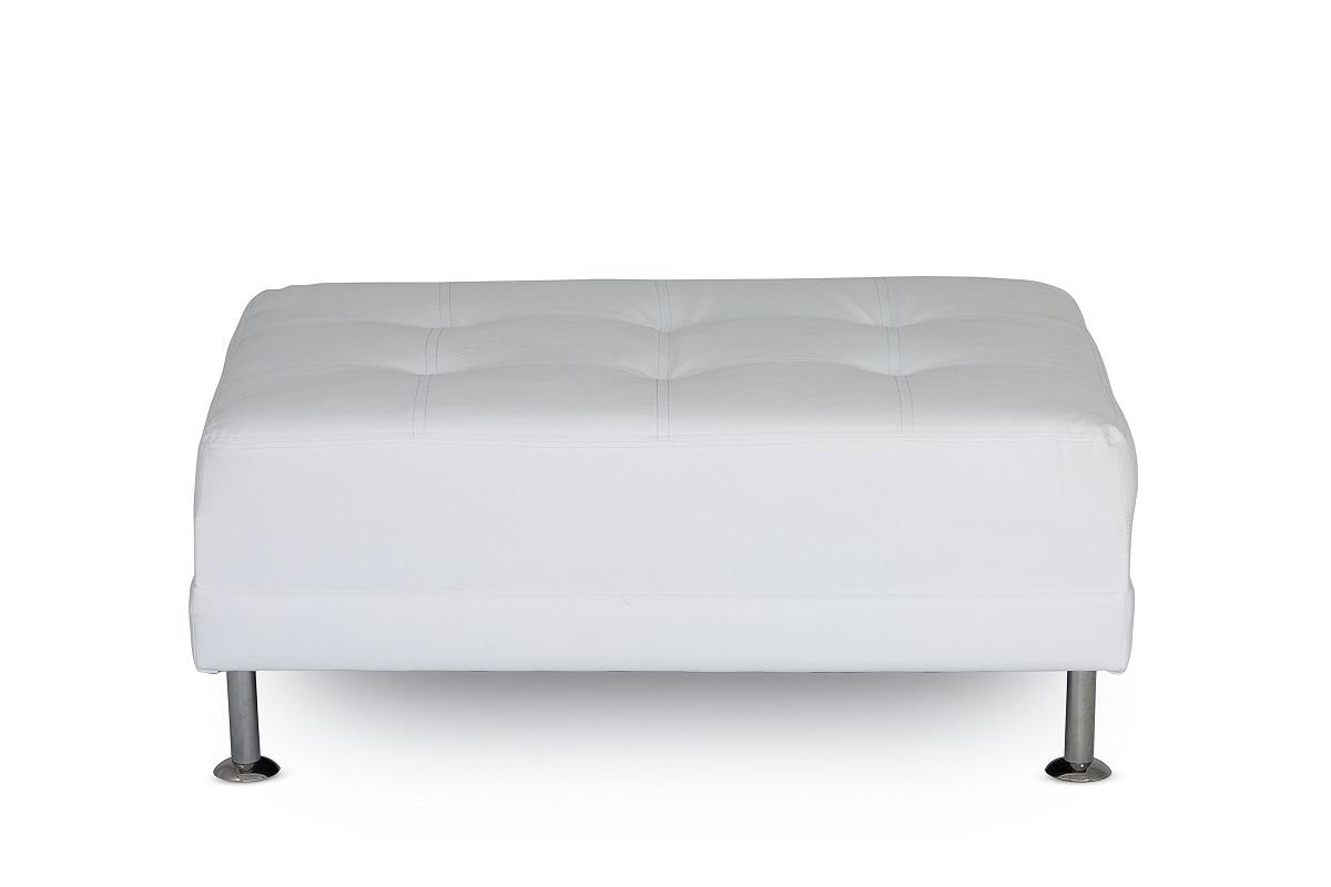 White Leather Chrome Leg Footstool