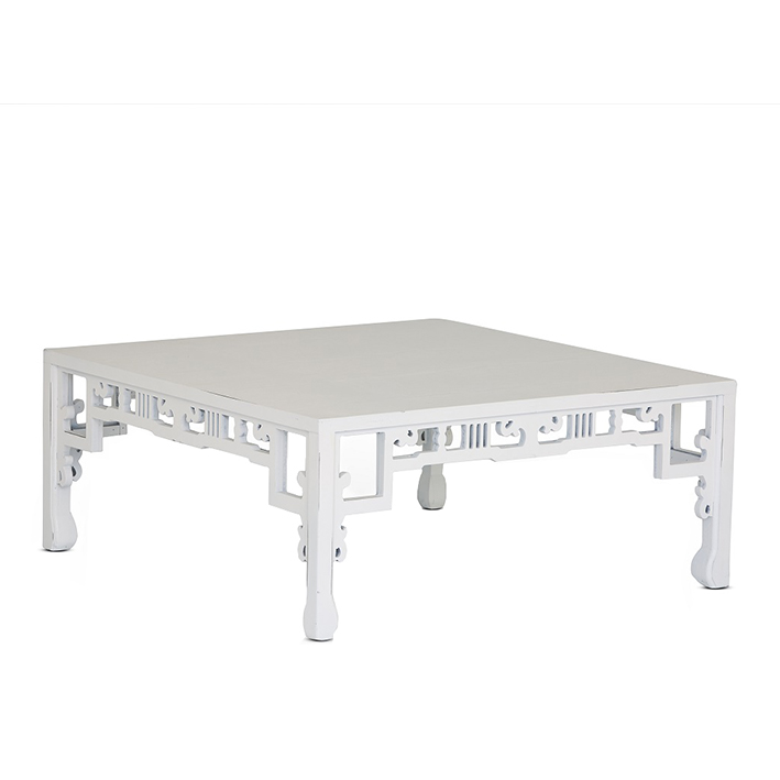 White Wood Top Low Table