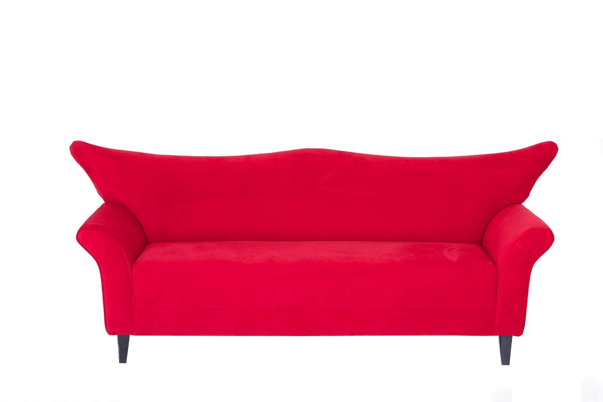 Red Velvet Wing Back Sofa