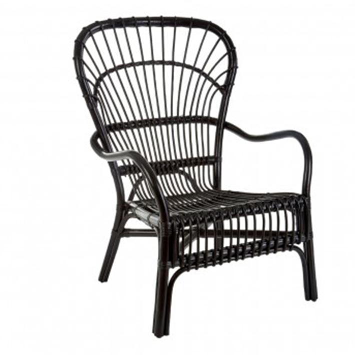 Black Rattan Relaxer Chair