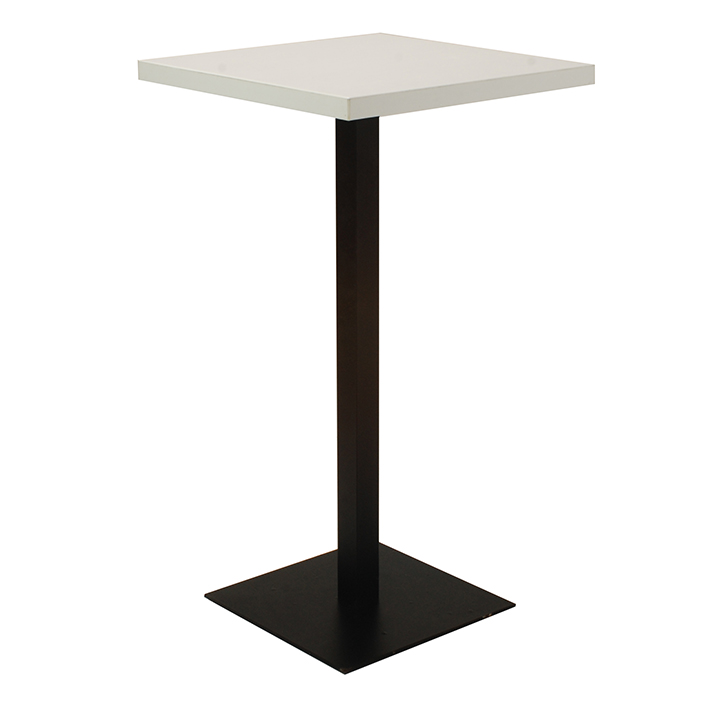 White Square Bar Table on Black Base