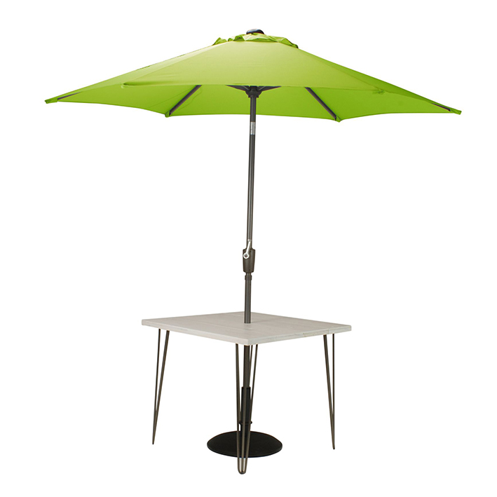Whitewash Dining Table with Apple Green Parasol